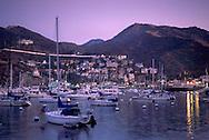 Purple evening sky over boats anchored in Avalon Harbor, Avalon, Catalina Island, California