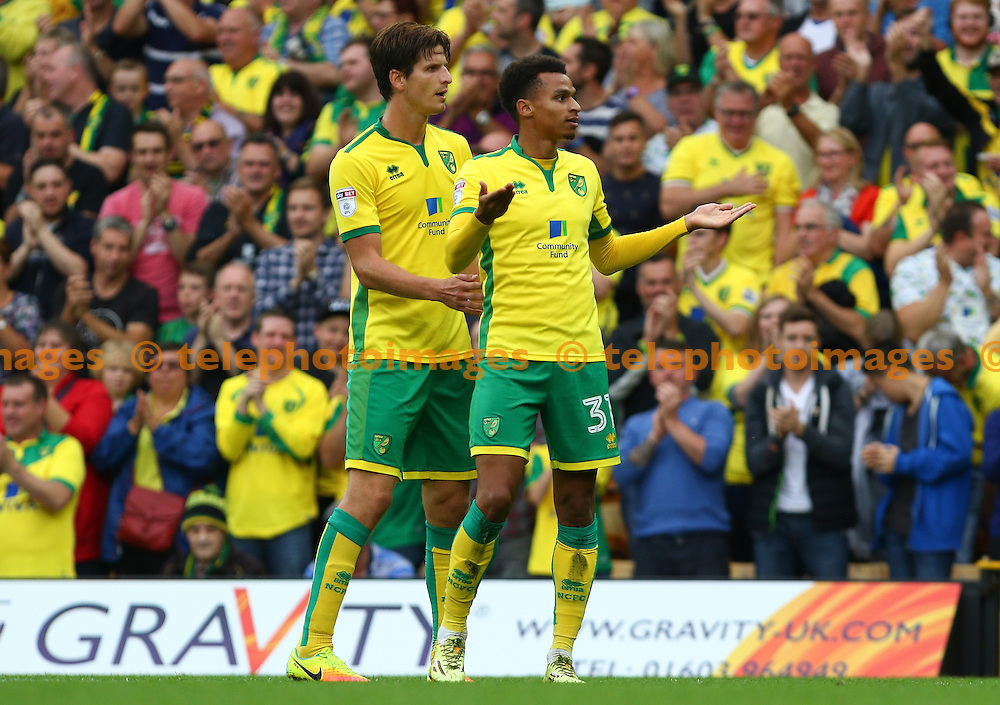 Josh Murhpy of Norwich City (right) celebrates scoring during the Sky Bet Championship match between Norwich City and Cardiff City at Carrow Road in Norwich. September 10, 2016.<br /> Arron Gent / Telephoto Images<br /> +44 7967 642437
