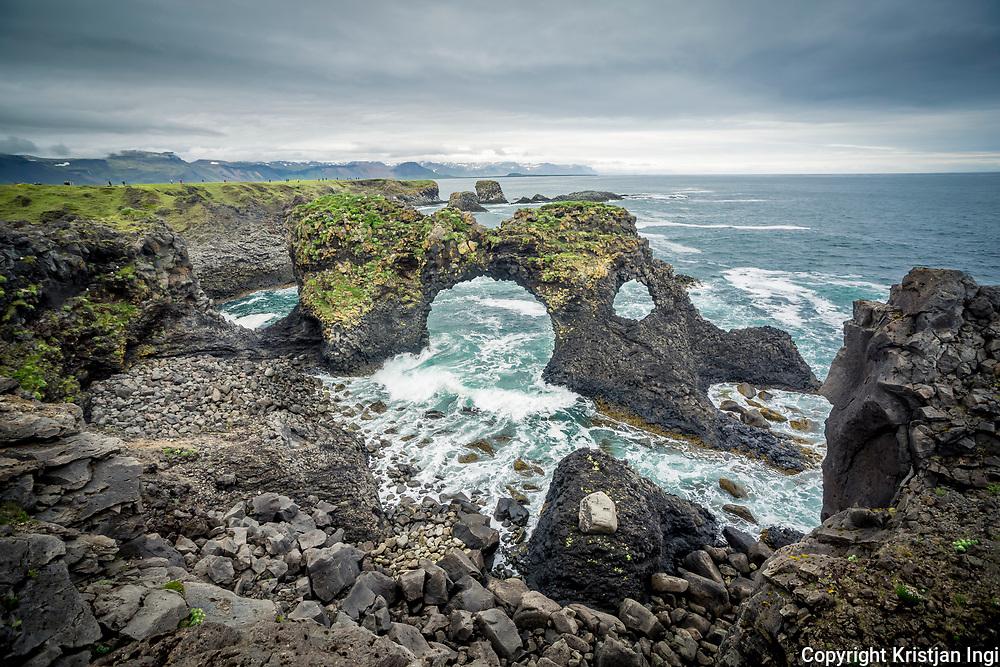 Rocky arches of Gatklettur on Snæfellsnes peninsula, west Iceland