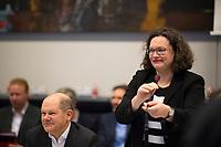 DEU, Deutschland, Germany, Berlin, 11.12.2018: SPD-Chefin Andrea Nahles und SPD-Vize Olaf Scholz vor Beginn der Fraktionssitzung der SPD.