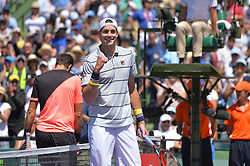 March 30, 2018 - Key Biscayne, FL, United States - KEY BISCAYNE, FL - MARCH 30: John Isner (USA) celebrates his win during day 12 of the 2018 Miami Open held at the Crandon Park Tennis Center on March 29, 2018 in Key Biscayne, Florida  (Credit Image: © Andrew Patron via ZUMA Wire)