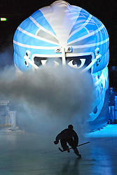 03.10.2011,  O2 World, Hamburg, GER, DEL, Hamburg Freezers vs Iserlohn Roosters, im Bild Feature Einlauf durch die Freezers-Maske die Spieler laufen im Gegenlicht aus der Maske. // during match at O2 World 2011/10/03, Hamburg  EXPA Pictures © 2011, PhotoCredit: EXPA/ nph/  Witke       ****** out of GER / CRO  / BEL ******