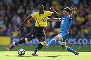 Adam Smith of Bournemouth blocks a shot from Odion Ighalo of Watford . Premier league match, Watford v AFC Bournemouth at Vicarage Road in Watford, London on Saturday 1st October 2016.<br /> pic by John Patrick Fletcher, Andrew Orchard sports photography.