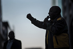 May 12, 2019 - Johannesburg, South Africa - South African President and President of the ruling party African National Congress (ANC) Cyril Ramaphosa addresses the crowd during an ANC election victory rally on May 12, 2019, in central Johannesburg. (Credit Image: © Michele Spatari/NurPhoto via ZUMA Press)
