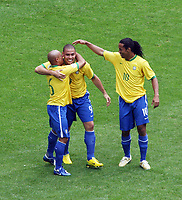 Photo: Chris Ratcliffe.<br /> Brazil v Ghana. Round 2, FIFA World Cup 2006. 27/06/2006.<br /> Ronaldo celebrates scoring the opening goal with Roberto Carlos and Ronaldinho.