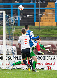 Falkirk's keeper Michael McGovern saves from Cowdenbeath's Kane Hemmings.<br /> Cowdenbeath 0 v 2 Falkirk, Scottish Championship game today at Central Park, the home ground of Cowdenbeath Football Club.<br /> © Michael Schofield.