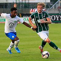 28.08.2019, Stadion Lohmühle, Luebeck, GER,  VFB Lübeck/Luebeck vs VfL Wolfsburg IIi<br /> <br /> DFB REGULATIONS PROHIBIT ANY USE OF PHOTOGRAPHS AS IMAGE SEQUENCES AND/OR QUASI-VIDEO.<br /> <br /> im Bild / picture shows<br /> John Yeboah VfL Wolfsburg II im Zweikampf gegen Marcel Schelle (VfB Luebeck).<br /> <br /> Foto © nordphoto / Tauchnitz