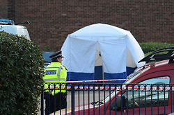 © Licensed to London News Pictures, 04_02_2018_ London, UK, Police cordon off Abbey Road in Barking where a 19 year old male was stabbed to death around 10.30 on Saturday night. Paramedics treated the teenager but he was pronounced dead at the scene. Photo credit: Steve Poston/LNP