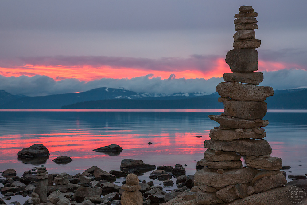 """""""Cairn at Lake Tahoe 1"""" - This cairn or man made stack of rocks, was photographed at sunset in Kings Beach, Lake Tahoe."""
