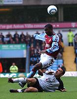 Credit: Back Page Images. Aston Villa v Fulham, FA Premiership, 23/10/2004. Jlloyd Samuel (Aston Villa) Steed Malbranque (Fulham)