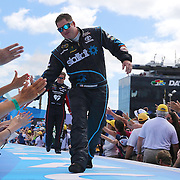 Race car driver Robert Richardson Jr. is seen during driver introductions prior to the 58th Annual NASCAR Daytona 500 auto race at Daytona International Speedway on Sunday, February 21, 2016 in Daytona Beach, Florida.  (Alex Menendez via AP)