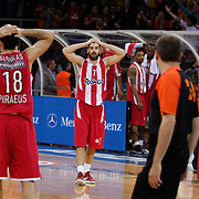 Olympiacos's Vassilis Spanoulis (C) during their Turkish Airlines Euroleague Basketball Top 16 Group E Game 2 match Galatasaray between Olympiacos at Abdi Ipekci Arena in Istanbul, Turkey, Thursday, January 26, 2012. Photo by TURKPIX