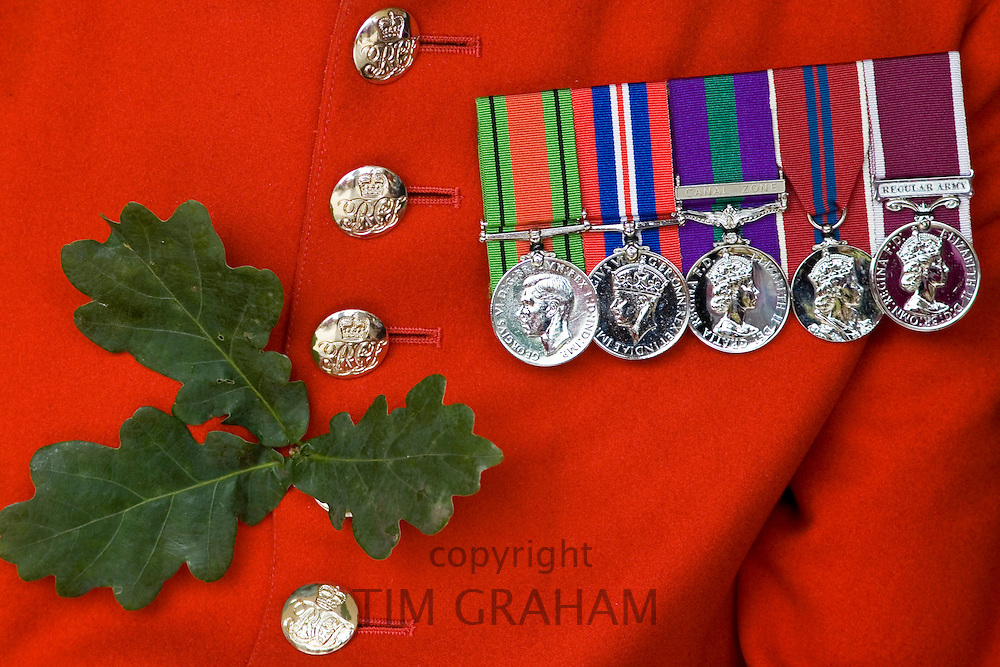 Medals worn by a Chelsea Pensioner on Founder's Day Parade, London, United Kingdom.