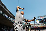 Kevin Youkilis #20 of the Chicago White Sox warms up in the dugout during a game against the Minnesota Twins on September 16, 2012 at Target Field in Minneapolis, Minnesota.  The White Sox defeated the Twins 9 to 2.  Photo: Ben Krause