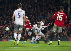 Brandon Williams of Manchester United (C) has a shot at goal - Mandatory by-line: Jack Phillips/JMP - 18/12/2019 - FOOTBALL - Old Trafford - Manchester, England - Manchester United v Colchester United - English League Cup Quarter Final
