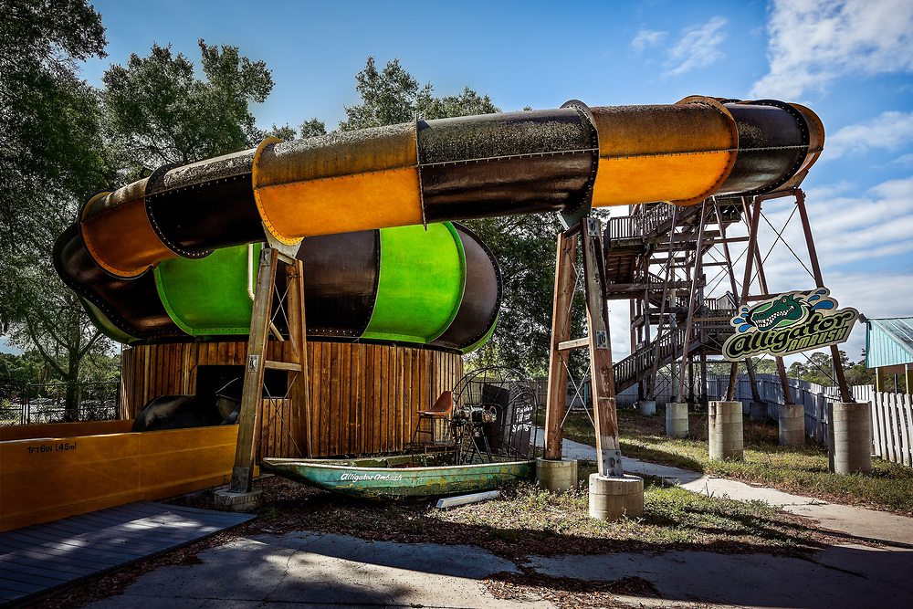 The abandoned Wild Waters water park at Silver Springs State Park, in Ocala, FL