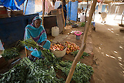 Fatima Achmad Mohammed works at her vegetable stall in the shaded souk market of the 4 sq km Abu Shouk refugee camp which is (disputedly) home to 38,000 displaced persons and families on the outskirts of the front-line town of Al Fasher (also spelled, Al-Fashir) in north Darfur. .