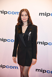 Yulia Snigir poses as arriving for the opening ceremony of the MIPCOM in Cannes - Marche international des contenus audiovisuels du 16-19 Octobre 2017, Palais des Festivals, Cannes, France.<br />Exhibition MIPCOM (International Market of Communications Programmes) at Palais des Festivals et des Congres, Cannes (Photo by Lionel Urman/Sipa USA)