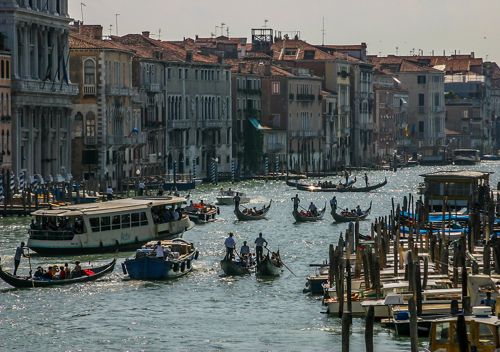 Grand Canal heavy traffic in Venice, Italy. Although Venice is composed of islands and canals, the Grand Canal is the only really large one.