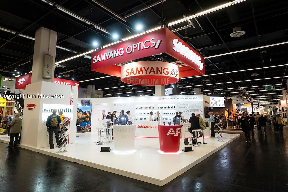Samyang optics company stand at Photokina trade fair in Cologne, Germany , 2016