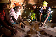 A group of women in Fada N'Gourma Burkina Faso grind organic millet on a traditional table carved from stone to make flour. The table has been in the village for years and has well moulded troughs to collect the flour.