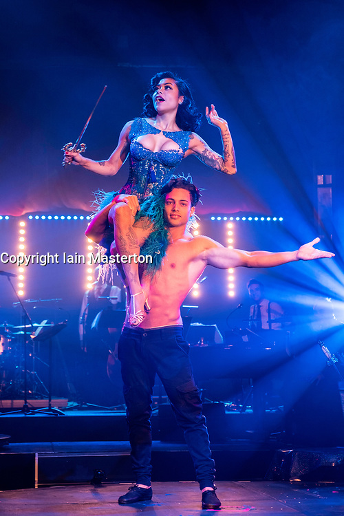 Cabaret group Le Clique present their Christmas show Le Clique Noel at the Spiegeltent in Edinburgh as part of the city's annual Christmas festivities. Heather Holliday performs