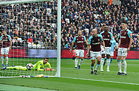 Football - 2017 / 2018 Premier League - West Ham United vs. Manchester City<br /> <br /> Man City second goal - Declan Rice of West ham can only watch as the ball is deflected off him and into the net, at the London Stadium.<br /> <br /> COLORSPORT/ANDREW COWIE