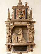 Historic interior of East Bergholt church, Suffolk, England, UK - Edward Lambe died 1617 memorial monument