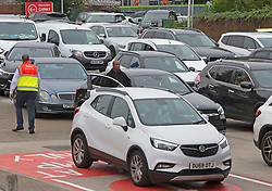 © Licensed to London News Pictures 25/09/2021.<br /> Sidcup, UK, Motorists continue to panic buy petrol this morning at Tesco Petrol station in Sidcup, London. Forecourts have been busy since 6am. BP has started to ration petrol and diesel due to a shortage of truckers. Photo credit:Grant Falvey/LNP