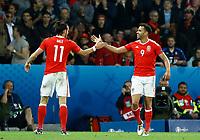 Gareth Bale (Wales) celebrating the goal with Hal Robson-Kanu. esultanza gol<br /> Lille 01-07-2016 Stade Pierre Mauroy Football Euro2016 Wales - Belgium / Galles - Belgio <br /> Quarter-finals. Foto Matteo Ciambelli / Insidefoto