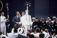 President Jimmy Carter congratulates graduates at the Naval Academy in June 1978<br /> Photo by Dennis Brack