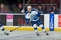 KELOWNA, BC - OCTOBER 23:  Owen Blocker #21 of the Swift Current Broncos warms up against the Kelowna Rockets at Prospera Place on October 23, 2018 in Kelowna, Canada. (Photo by Marissa Baecker/Getty Images) ***Local Caption***