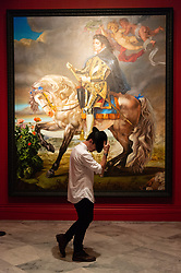 © Licensed to London News Pictures. 27/06/2018. London, UK. Painting titled Equestrian Portrait of King Philip II (Michael Jackson) by Kehinde Wiley, 2010, is shown as part of the Michael Jackson: On the Wall exhibition at the National Portrait Gallery. Photo credit: Ray Tang/LNP