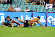Tom Banks dives over to score a try. NSW Waratahs v ACT Brumbies. 2021 Super Rugby AU Round 7 Match. Played at Sydney Cricket Ground on Friday 2 April 2021. Photo Clay Cross / photosport.nz