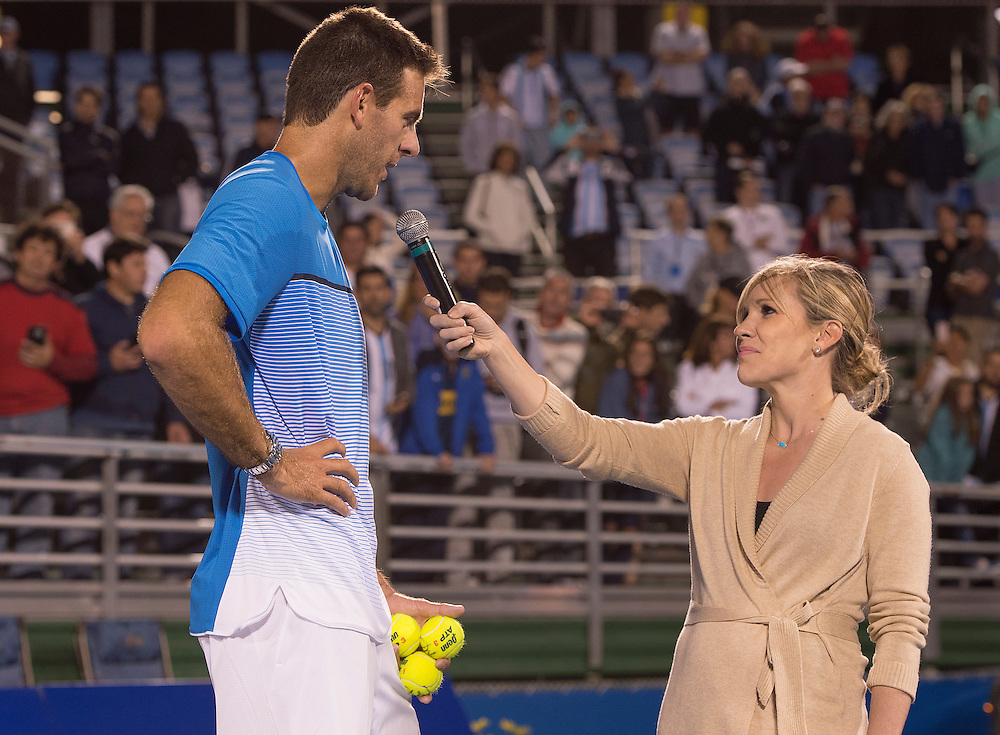 FEBRUARY 18 - DELRAY BEACH, FL: Juan Martin Del Potro(ARG) Speaks to Blair Henley and the crowd after defeating John-Patrick Smith(AUS) 64 63 at the 2016 Delray Beach Open an ATP Masters 250 tournament held at the Delray Beach Tennis Center in Delray Beach, Florida.   Photographer - Andrew Patron/CameraSport<br /> <br /> Juan Martin Del Potro returns to tennis - Delray Beach Open - Tennis - Day 4 - Thursday 18 February 2016 - Delray Beach Tennis Center - Delray Beach, Florida USA<br /> <br /> © CameraSport - 43 Linden Ave. Countesthorpe. Leicester. England. LE8 5PG - Tel: +44 (0) 116 277 4147 - admin@camerasport.com - www.camerasport.com