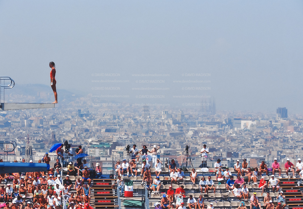 BARCELONA - JULY 27:  Veronica Ribot-Canales of Argentina competes in the Women's 10 meter Diving final at the Piscina Municipal de Montjuic on July 27, 1992 during the Summer Olympics in Barcelona, Spain.  Visible in the background are the towers of the Basilica de la Sagrada Familia designed by architect Antoni Gaudi.  (Photo by David Madison/Getty Images)