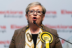 Edinburgh, Scotland, UK. 12th December 2019. SNP's Joanna Cherry MP making speech after winning Edinburgh South West at Parliamentary General Election Count at the Royal Highland Centre in Edinburgh. Iain Masterton/Alamy Live News