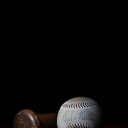 A Babe Ruth signed antique vintage baseball and vintage wooden baseball bat. 7th June 2012. Photo Tim Clayton