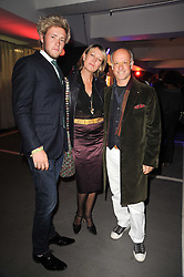 Founder of Mulberry ROGER SAUL, his wife MONTY SAUL and their son FREDDIE SAUL at a party to celebrate 150 years of TAG Heuer held at the car park at Selfridge's, London on 15th September 2010.
