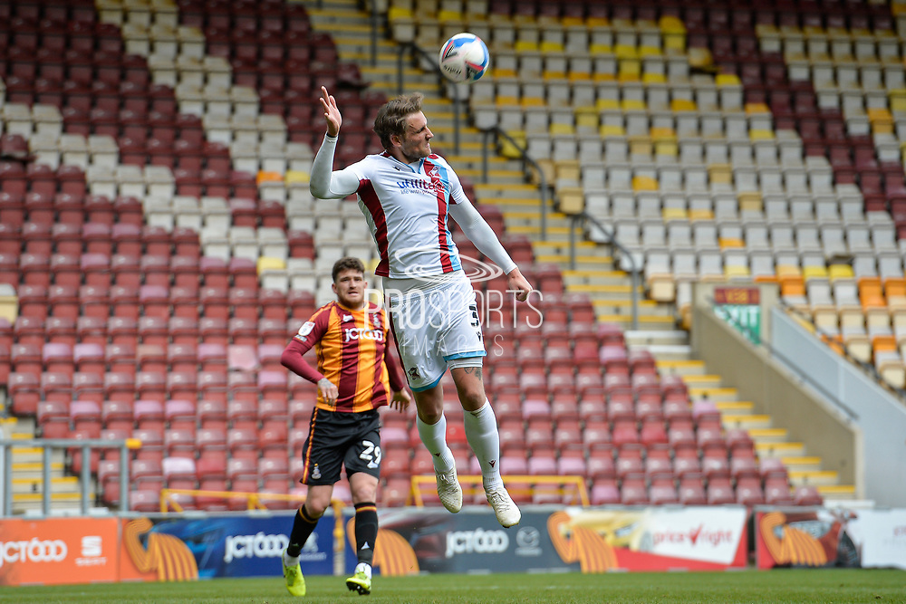 George Taft Header during the EFL Sky Bet League 2 match between Bradford City and Scunthorpe United at the Utilita Energy Stadium, Bradford, England on 1 May 2021.