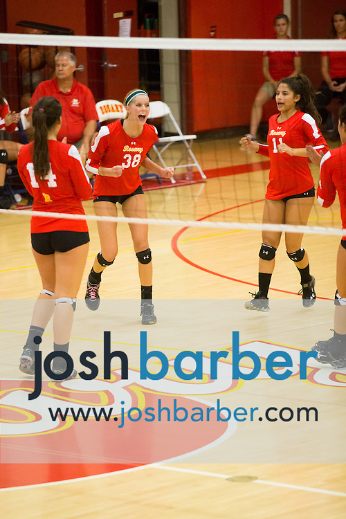 Louise Kooiman during a non-league girl's volleyball match between the Canyon Comanches and Rosary Royals at Rosary Academy on Thursday, September 17, 2015 in Fullerton, California.
