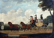 The London Chelmsford to London Coach': 1799, oil on canvas. John Cordrey (active 1765-1825) English painter.  Stage coach with inside and outside passengers, drawn by four horses with blinkers and docked tails, about to pass a milestone.