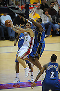 The Washington Wizards defeated the Cleveland Cavaliers 88-87 in Game 5 of the First Round of the NBA Playoffs, April 30, 2008 at Quicken Loans Arena in Cleveland.<br /> Delonte West attempts a layup.