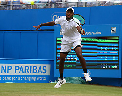 June 23, 2017 - London, United Kingdom - Donald Young (USA) against  Marin Cilic CRO during Men's Singles Quarter Final match on the fourth day of the ATP Aegon Championships at the Queen's Club in west London on June 23, 2017  (Credit Image: © Kieran Galvin/NurPhoto via ZUMA Press)