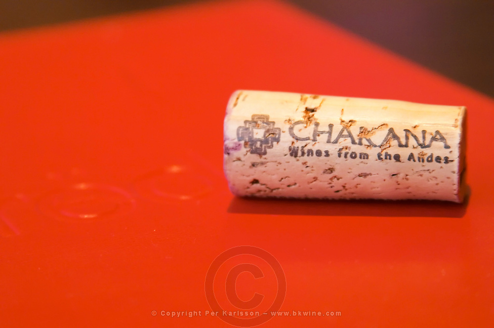 A cork from the Chakana Bodega winery in Mendoza on the menu of the red restaurant. wines from the Andes. The Restaurant Red at the Hotel Madero Sofitel in Puerto Madero, Buenos Aires Argentina, South America
