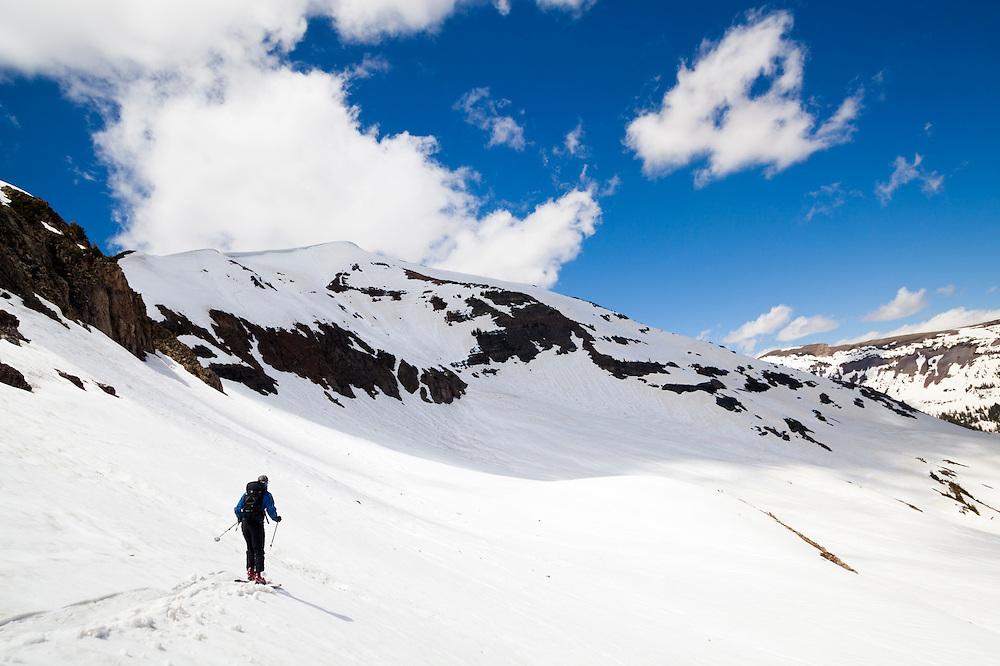 Nathan Rice skies below Ruby Peak, Gunnison National Forest, Colorado.