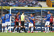 Referee Chris Kavanaghy points to the penalty spot during the Premier League match between Everton and Bournemouth at Goodison Park, Liverpool, England on 26 July 2020.
