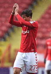 Charlton Athletic's Michael Zyro applauds the fans after the final whistle
