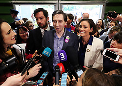 Minister for Health Simon Harris (centre) with Fine Gael's Kate O'Connell and Housing Minister Eoghan Murphy (left) speaks to the media on arrival at the count centre in Dublin's RDS as votes are counted in the referendum on the 8th Amendment of the Irish Constitution which prohibits abortions unless a mother's life is in danger. Picture date: Saturday May 26, 2018. See PA story IRISH Abortion. Photo credit should read: Brian Lawless/PA Wire