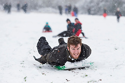 © Licensed to London News Pictures. 24/01/2021. LONDON, UK.  A man having fun sledding on a covered golf course as the first snow fall of the year arrives in Northwood, north west London.  Photo credit: Stephen Chung/LNP